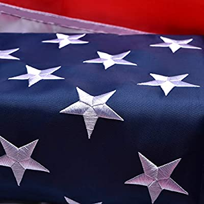American Flag 3x5 Outdoor, Heavyweight Oxford Nylon US Flags 3x5 Outdoor Made in USA, with Stitched Stripes Embroidered Stars, Brass Grommets, USA Flag Built for Outdoor Use