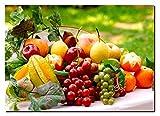 XL Poster 70 x 50cm Küche Obst Wein Äpfel Mandarinen