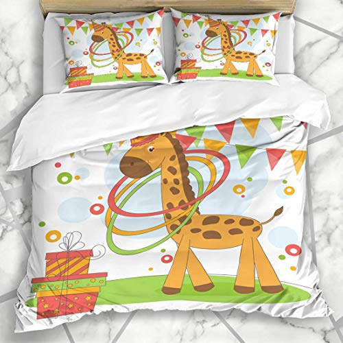 Totun Duvet Cover Sets Africa Happy Birthday Cute Little Garland Adorable African Attraction Balance Born Design Circus Microfiber Bedding with 2 Pillow Shams Easy Care Anti-Allergic Soft Smooth