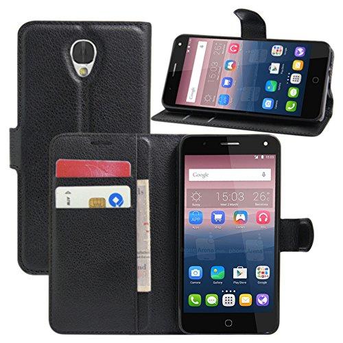 HualuBro Alcatel Pop 4 Hülle, Leder Brieftasche Etui Tasche Schutzhülle HandyHülle [Standfunktion] Leather Wallet Flip Hülle Cover für Alcatel Pop 4 (Schwarz)