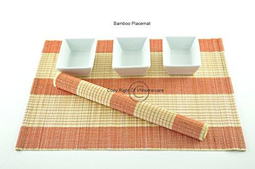 Tapis De Table En Bois De Bambou, Set De Table Fabrique A La Main. Pack De 6, Colours: Rouge-Orange (P003)