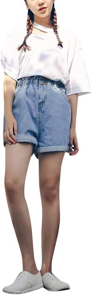 POTO Jean Shorts for Women Elastic Waist Distressed Denim Shorts Wide Leg Casual Summer Beach Hot Short Pants Trousers
