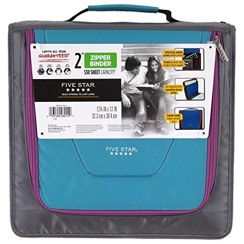"""Five Star Zipper Binder + Tech Pocket, 2"""", Teal / Gray, 12-3/4"""" x 12"""" (73248)"""
