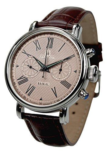 POLJOT International Chronograph Baikal Mechanische Armbanduhr für Herren Lederband Braun