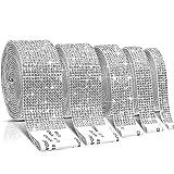5 Rolls Self-Adhesive Crystal Rhinestone Diamond Ribbon DIY Decoration Sticker with 2 mm Rhinestones 4.5 Yards for Arts Crafts, DIY Event Car Phone Decoration