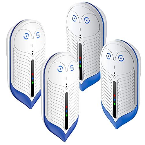 QQB Repellente di Parassiti ad Ultrasuoni, 4 Confezioni, Spina Plug-in Elettronica da Interni Aggiornato 2021 per Insetti, Topi, Formiche, Zanzare, Ragno, Roditore, Scarafaggio