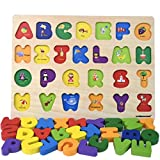 GYBBER&MUMU Alphabet Blocks Colorful Jigsaw Blocks Board Wood ABC Letters Puzzle