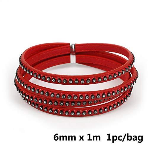 Crystal platte kabel 1m strass armband 6 mm en touw voor de doe-het maken van sieraden Choker Armband Fashion Accessories,rood
