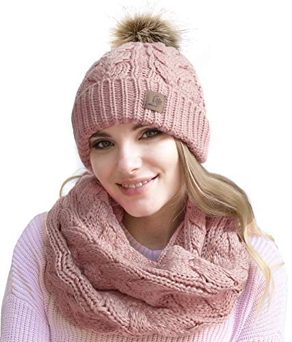 Winter Knit Pom Beanie Hat Scarf Set Women Cute Soft Warm Infinity Scarves (Pink Silver Thread)