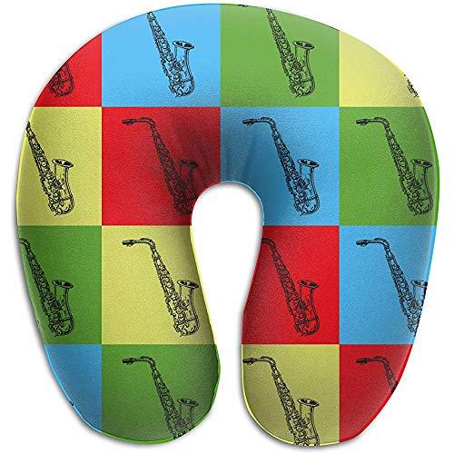 SESILY Pop-Art-Saxophon-Reise-Kissen-runde U-förmige Ansatz- / Kopf-Unterstützung