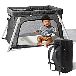 Lotus Travel Crib - Backpack Portable, Lightweight, Easy to Pack Play-Yard with Comfortable Mattress