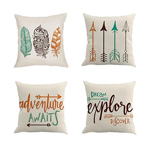 Qinqingo Inspirational Words with Arrow Throw Pillow Covers Decorative Cotton Linen Cushion Cover Home Sofa Decor Pillowcases Set of 4 (IAFQ-4pcs)