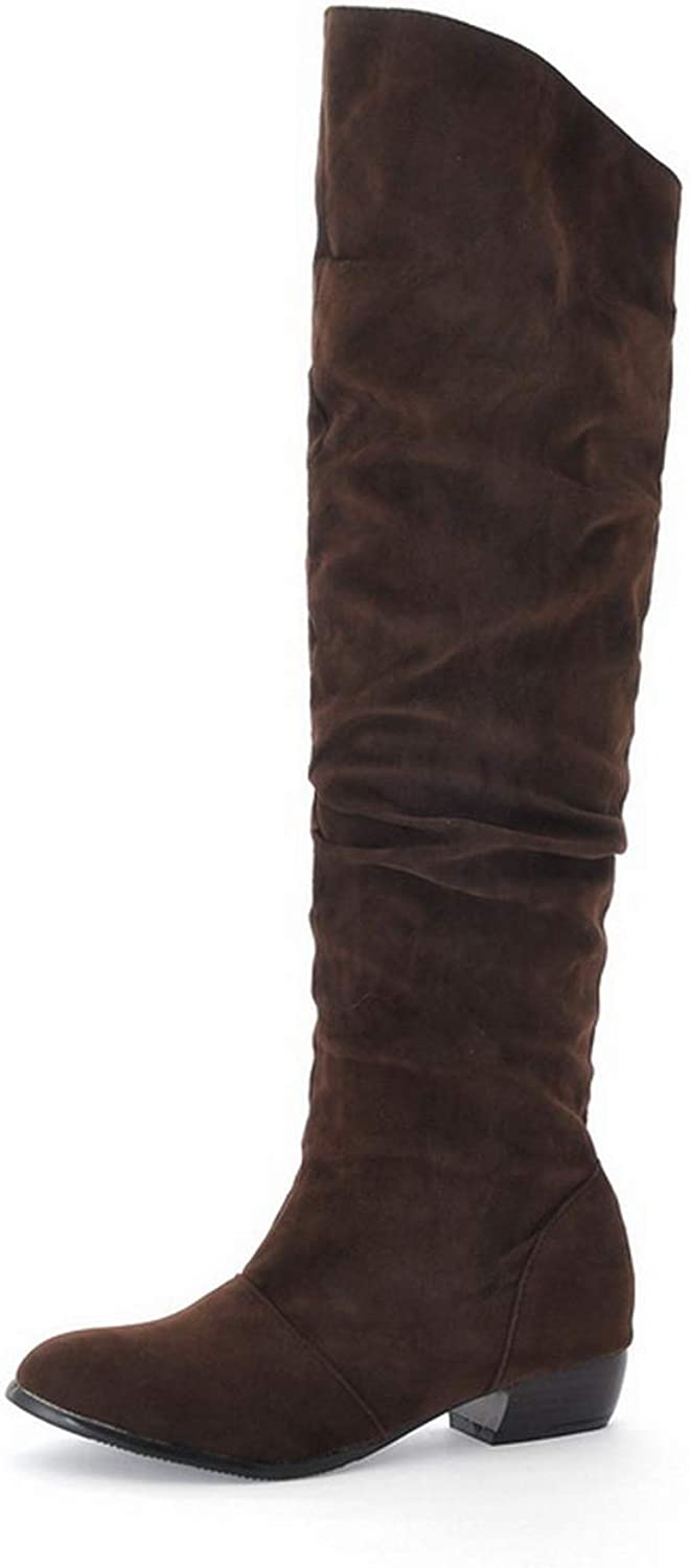 BalaMasa Womens Travel Solid Baguette-Style Lizard Boots ABL10679