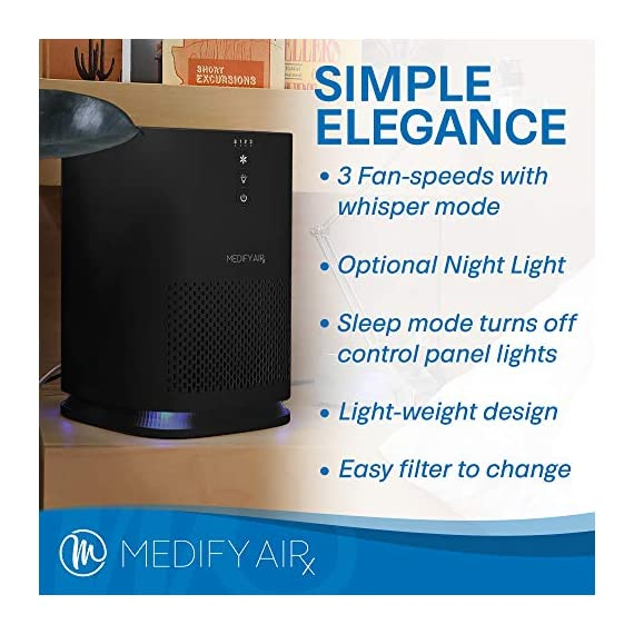 Medify Air MA-14-B1 Air Purifier with H13 HEPA filter - a higher grade of HEPA for 200 Sq. Ft. (99.9%) Allergies, dust… 7 Medical Grade H13 True HEPA Filter (higher rated than True HEPA) 99.97% particle removal CADR of 120 | Cleans up to 470 sq. ft.in an hour. 235 sq. ft. in 30 minutes. 117 sq. ft. in 15 minutes | Perfect for Office, Bedroom, Dorms, Baby Nurseries 3 Fans Speeds | Night Light | Sleep Mode