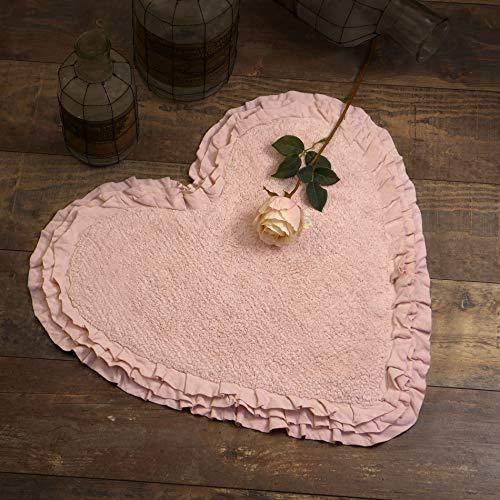 Tapis de Bain Cœur, Tapis à Volant, Tapis pour Salle de Bain en Forme de Cœur Shabby Chic et Romantique - Trois Volants - 65x68 - Rose poudré - 100% Coton