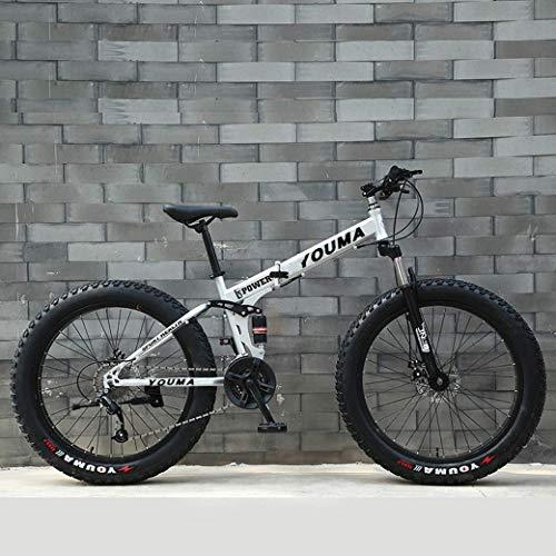 Bicicletas de montaña, 24 pulgadas Fat Tire Hardtail Moto de nieve para hombres, marco de doble suspensión y horquilla de suspensión Bicicleta de montaña todo terreno Bicicleta de montaña para adultos
