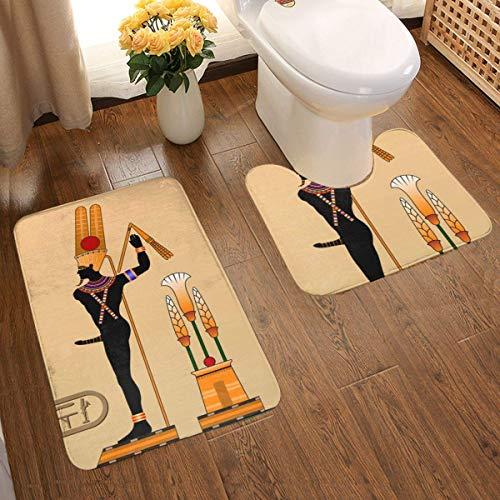 Lucky Home Religion des Antiguos Egipto (8) Juego de 2 alfombrillas de baño, alfombrilla de baño, diseño 3D individual, superabsorbente, antideslizante, gruesa, felpudo de baño, juego de contorno