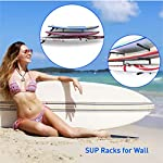 """Easygoproducts egp-surf-006 sup and surf 3 level wall storage for garage or room-paddle board and longboard racks 11 🏄 heavy duty: our sup wall rack was designed using all steel to withstand the weight of heavy paddleboards and long boards creating a more sturdy and durable paddle board storage rack. 🏄 overall protection: each of the 6 arms included of our sup board rack comes equipped with extra thick padding to protect and prevent harm done to your board unlike most paddle board racks. Our steel material is also durable and rust resistant to withstand a salt water environment. 🏄 perfect for many types of boards: unlike a lot of sup racks for wall storage, this paddle board holder can hold up to a 33'' wide board and can hold surfboards, paddleboard, longboards, skis, and some kayaks with a 12"""" spacing in between each arm level."""