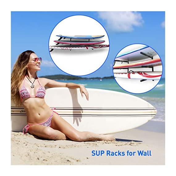 """Easygoproducts egp-surf-006 sup and surf 3 level wall storage for garage or room-paddle board and longboard racks 3 🏄 heavy duty: our sup wall rack was designed using all steel to withstand the weight of heavy paddleboards and long boards creating a more sturdy and durable paddle board storage rack. 🏄 overall protection: each of the 6 arms included of our sup board rack comes equipped with extra thick padding to protect and prevent harm done to your board unlike most paddle board racks. Our steel material is also durable and rust resistant to withstand a salt water environment. 🏄 perfect for many types of boards: unlike a lot of sup racks for wall storage, this paddle board holder can hold up to a 33'' wide board and can hold surfboards, paddleboard, longboards, skis, and some kayaks with a 12"""" spacing in between each arm level."""