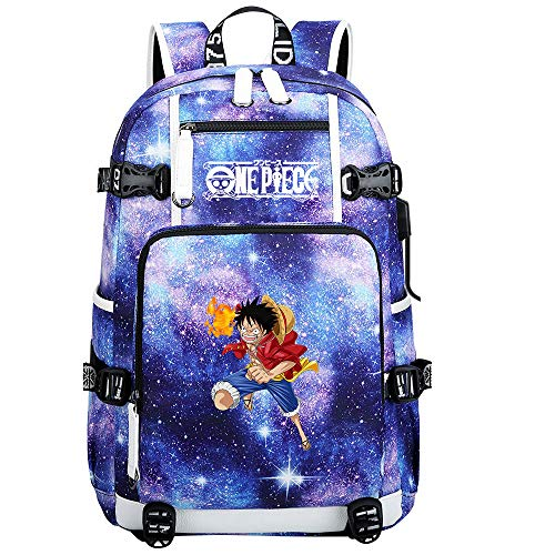ZZGOO-LL One Piece Monkey·D·Luffy/Roronoa Zoro Anime Laptop Backpack Bag Travel Laptop Daypacks Bolso Ligero con USB-C