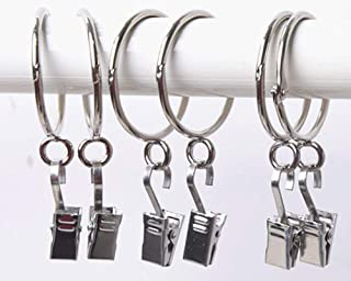20 Pack Curtain Clips Rings Open Close Solid Metal Curtain Ring Hooks with Eyelets-Rustproof,Movable Clasp Suitable Fixed Pole Shower Curtain Rings/Strong Clip Set Silver (2.5 inch Interior Diameter)