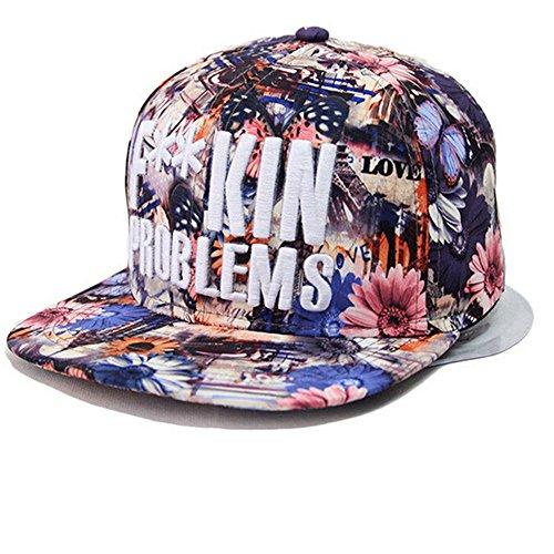 Kenmont hohe Art und Weise Hip-Hop Blume Baseballmützen Baseball Caps für Mädchen Frauen Damen(Graue Blumen) (Lila Blume)