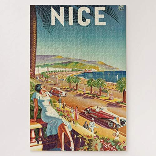 CICIDI Nice France Vintage Travel Poster Jigsaw Puzzle 1000 Pieces for Adult Entertainment DIY Toys , Graet Gift Home Decor