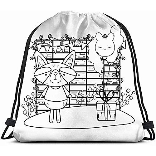 jenny-shop Waschbär Luftballons Geschenke Camp Animals Wildlife Adventure Holidays Kordelzug Rucksack Gym Sack Leichte Tasche