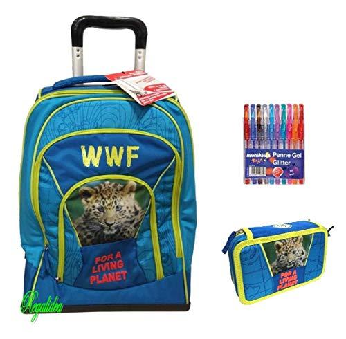 TROLLEY ZAINO scuola WWF ADVENTURE maschile boy + ASTUCCIO 3 PIANI COMPLETO + omaggio 10 penne glitterate + omaggio cartolina WWF + segnalibro