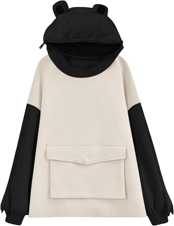 Women Frog Hoodie Cute Design Print Long Sleeve Pocket Pullover Color Block Sweatshirts Casual Daily Coat