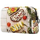 Neceser de Viaje para cosméticos Bolsa de Maquillaje con Cierre de Cremallera portátil Diaria,sándwiches integrales y tazones con Micro Verduras