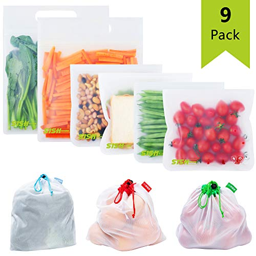 Reusable Sandwich Bags with Mesh Bags Pack of 9 Airtight Gallon Size Leak Proof Snack Bags for Kids BPA Free Freezer Bags Great Combination Made with Extra Thick Food Grade Material