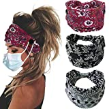 Bohend Boho Button Headband Wide Stretchy Daily Use Knotted Headwear Sport Athletic YogaGym Hair Accessories for Women and Girls(3pcs) (E)