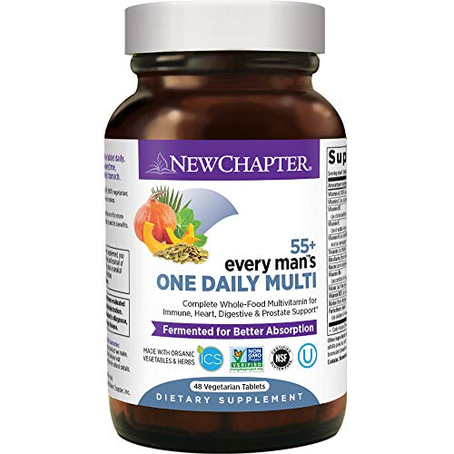 New Chapter Multivitamin for Men 50 Plus - Every Man's One Daily 55+ with Fermented Probiotics + Whole Foods + Astaxanthin + Organic Non-GMO Ingredients -48ct