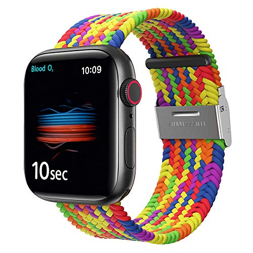 Braided Watch Band for Apple Watch 38mm/40mm Series 6/SE, Elastics Solo Loop Stretchable Wristband for iWatch Series 6/SE/5/4/3/2/1 with Buckles