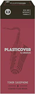 Cañas para saxo tenor Rico Plasticover, resistencia de 2.5, paquete de 5