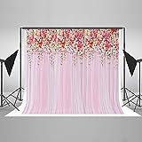 KateHome PHOTOSTUDIOS 2,2x1,5m Telones de Fondo de Boda para fotografía Telón de Fondo de Microfibra Fondos de Cortina Rosa Fondo de Flor roja para Estudio fotográfico de Bodas