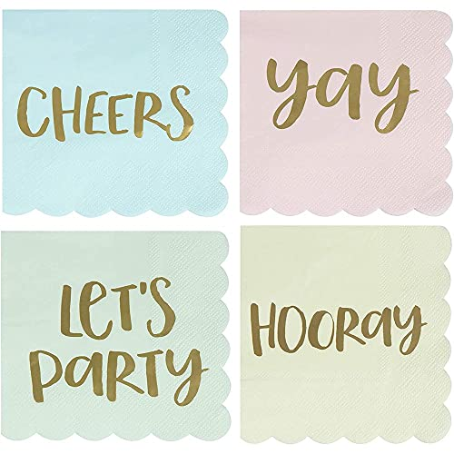 Juvale Festive Cocktail Party Napkins (5 x 5 in, 4 Colors, 100-Pack)