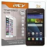 REY 3X Protector de Pantalla para Huawei Y635, Cristal Vidrio Templado Premium