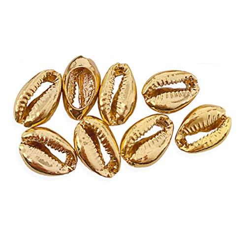 Healifty cuentas de concha galvanoplastia conchas marinas cowrie diy para collares pulsera colgante tobillera joyería artesanal 50 piezas (dorado)