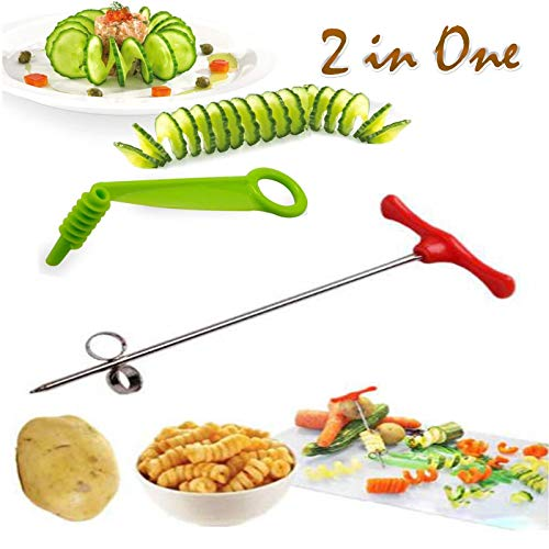 Spiral Screw Slicer Blade - 2 IN 1 - Vegetables Spiral Knife Carving Hand Slicer Cutter - Potato Carrot Cucumber Kitchen Accessories Tools - Best Gift Idea Boxed