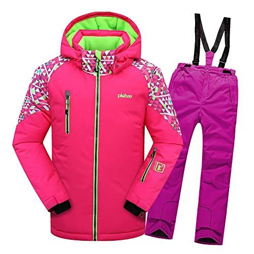 LSHEL Jungen und Mädchen Skianzug Skihose + Skijacke Snowboardhose Snowboardjacke Schneehose, Rosa Top + Rose lila Hose, 158/164