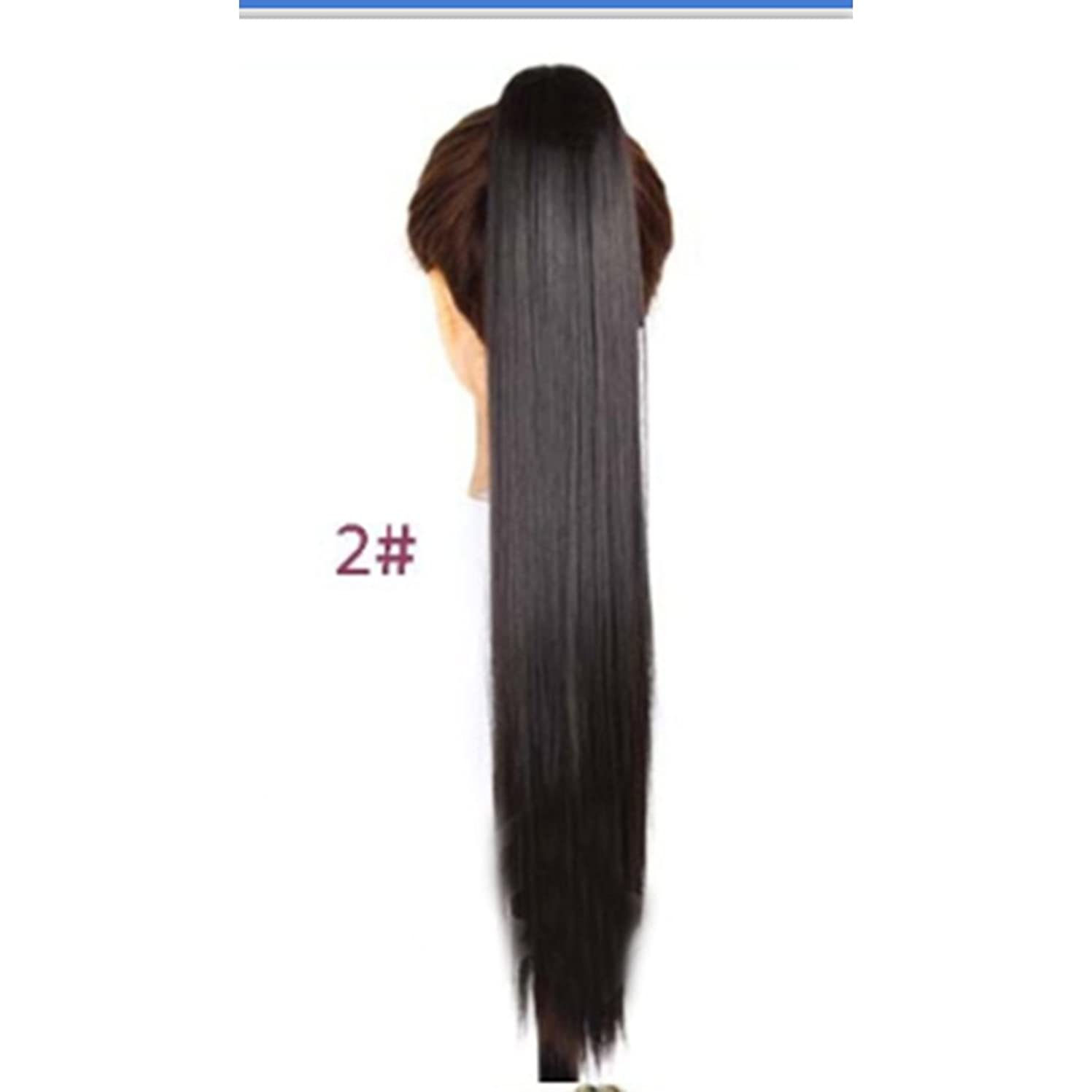 忠実に保証寂しいJIANFU 女性のための24inch / 150g合成高温ヘアピースの長さストレートポニーテール爪クリップロングストレートヘアエクステンション (Color : 2#)