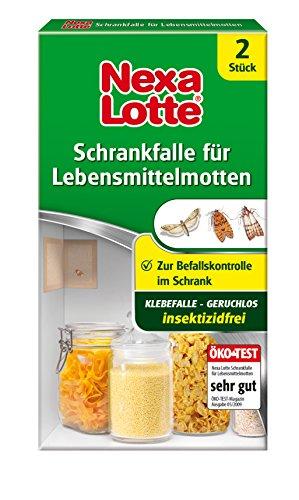 Nexa Lotte Schrankfalle für Lebensmittelmotten, Mottenbekämpfung, Insektizidfreie Falle zum erfolgreichen Abfangen von Nahrungsmittelmotten in Küchenschränken und kleinen Vorratsräumen, 2 Fallen