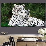 wZUN Animal Salvaje Amor Pareja Tigre Pintura al óleo Abstracta Cartel en Lienzo e impresión Mural en la Pared de la Sala de Estar 60x120 Sin Marco