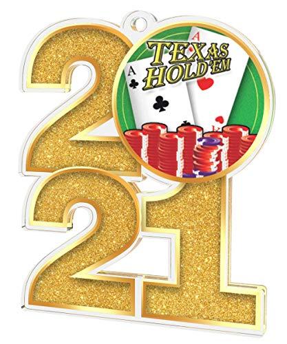 Trophy Monster El paquete de medallas a granel de Poker Texas Holdem 2021 incluye 5 medallas y cintas | Clubs, fiestas y empresa, hecho de acrílico impreso, 70 mm (8 tamaños de paquete)