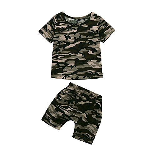 Abbigliamento Bimbo 18 24 Mesi Bambini Pantaloni Vestiti Set Estate Bambini Set Vestiti Bambini Abiti in Abbigliamento Bambini Manica Corta Camouflage Stampa Top + Pantaloncini Due Set Set