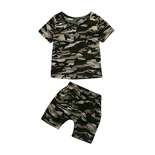 Allence Kleinkind Baby Jogginganzug Camouflage Brief T-Shirt Oberteile + Camouflage Kurze Hose Outfits Strampelhöschen Bekleidungssets Babyausstattung kindersachen Haremshose
