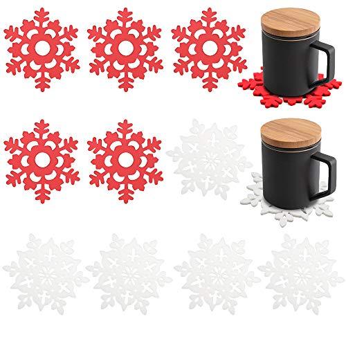 Kungfu Mall - Sottobicchieri natalizi in feltro con fiocco di neve, 10 pezzi, colore: rosso e bianco