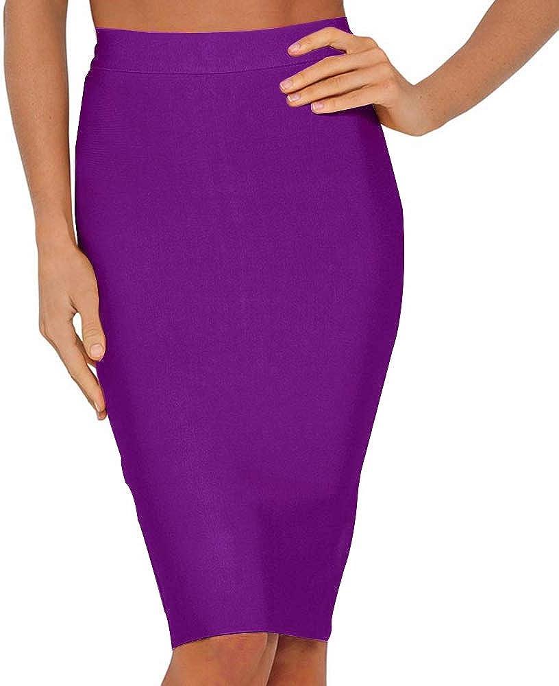 Nayssi Women's High Waist Knee Length Bandage Pencil Skirt